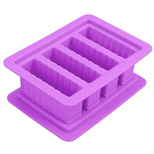 Butter Silicone Tray Mold, The Butter Maker with Lid Storage Jar Large 4 Cavities Rectangle Container for Butter, Soap Bar, Energy Bar, Muffin, Brownie, Cornbread, Cake, Pudding(Purple)