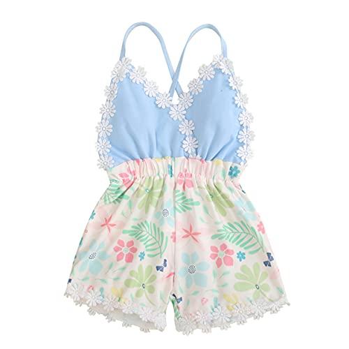 Aiihoo Ropa de verano para niña de bebé de una pieza, sin mangas, cuello halter Tops estampado floral, Azul y blanco., 2-3 Años