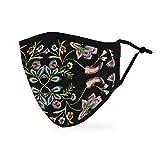 Weddingstar waschbare, Mundschutzmasken aus Stoff. Wiederverwendbar und verstellbar mit Staubfiltertasche - Blumenstickerei