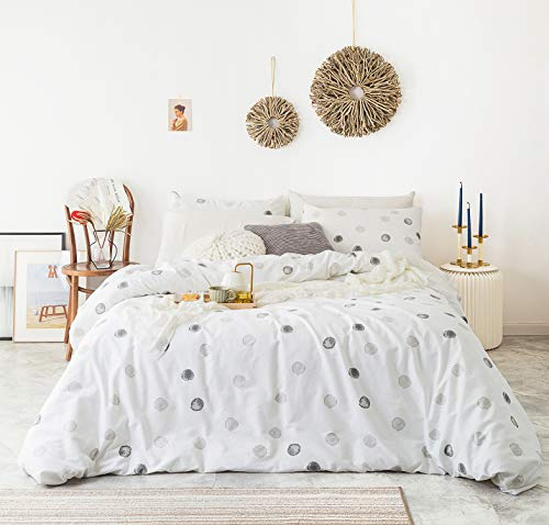 YuHeGuoJi 3 Pieces Duvet Cover Set 100% Cotton White Queen Size Grey Watercolor Polka Dot Bedding Set 1 Gray Geometric Print Duvet Cover with Zipper Ties 2 Pillowcases Luxury Quality Soft Breathable