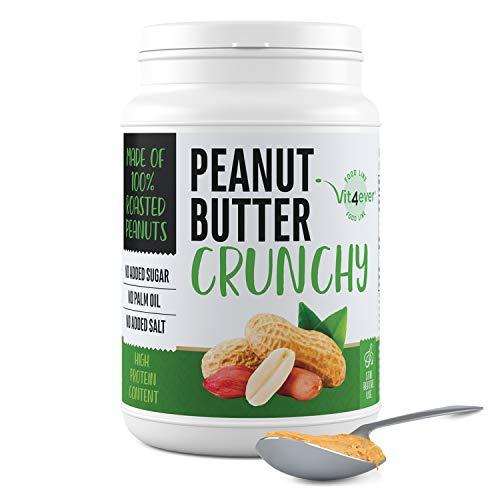 Mantequilla de cacahuete crujiente - 1kg de mantequilla de cacahuete natural sin aditivos - 30% de contenido en proteínas - mantequilla de cacahuete sin sal añadida, aceite o grasa de palma - vegano