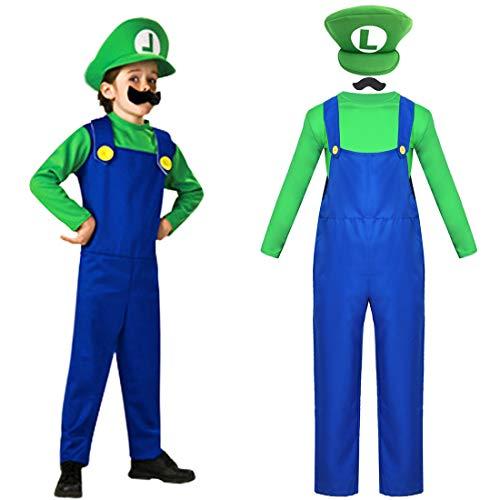 Disguise Mario Classic Disfraces Super Mario Gorra + pantalón + Barba - Traje Conjunto para Adultos Carnaval y Cosplay (Talla 130-150cm)
