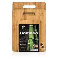 Home Organics Set di taglieri Premium in bambù moso, Ideali per la Preparazione di Cibo, Carne, Verdura, Pane, Cracker e Formaggio