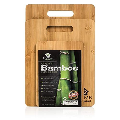 Home Organics Ensemble de Planches à découper en Bambou Moso, pour la préparation des Aliments, Viande, légumes, Pain, gâteau et Fromage