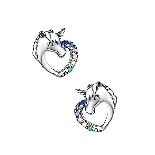 Weimoli Hipoalergénico Pendientes Lindo del Unicornio del Perno Prisionero del Unicornio con Diamantes De Imitación De Plata Esterlina para Las Mujeres 1 Par