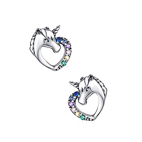 Ouken Hipoalergénico Pendientes Lindo del Unicornio del Perno Prisionero del Unicornio con Diamantes de imitación de Plata esterlina para Las Mujeres 1 par