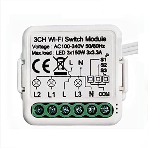 GPNY Interruptor Mini Tuya Smart WiFi Interruptor Oculto de Control Dual de 3 Vías para Interruptor de Luz de Pared Módulo de Interruptor de Relé WiFi Smart Life/Tuya App Interruptor