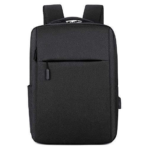 nobrands Men and Women Leisure Outdoor Waterproof Sports Backpack Simple Solid Color Business Computer Bag Student School Bag Black