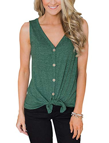 PRETTODAY Women's Summer V Neck Tank Tops Tie Front Button Up Sleeveless Shirts Casual Loose Blouses