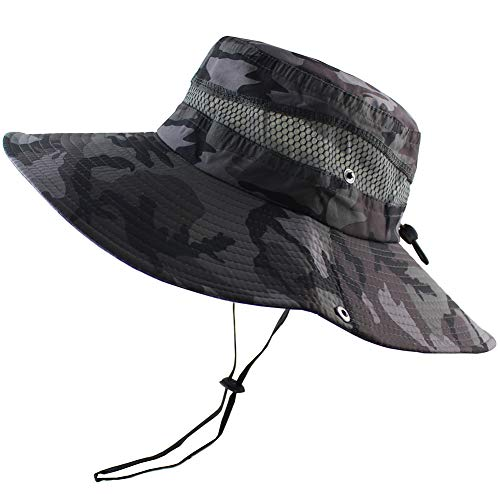 Summer Fishing Sun Boonie Hat Camouflage Outdoor UV Protection Large Brim Bucket Safari Cap Breathable Mesh