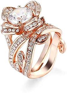 خواتم مطلية بالذهب الوردي بتصميم زهرة بمجوهرات حجر الزركون للنساء