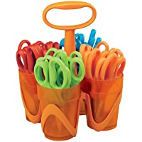 Fiskars 5 Inch Blunt-tip Kids Scissors with 4-Cup Carrying Caddy