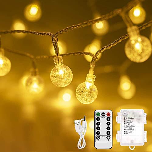 Catena Luminosa Esterno, Infankey 10M 100 LED Stringa Luci Led con Telecomando, 8 Modi & Timer, IP44 Impermeabile per Bar, Caffè, Piscina [Classe di efficienza energetica A+++]