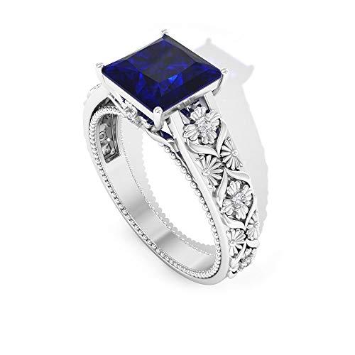 2 Karat Prinzessschliff Saphir Diffuse Solitär Ring Gravieren Vintage Verlobungsring Braut Ehering IGI zertifiziert Diamant IJ-SI Statement Ring, 14K Weißes Gold, Size:EU 52