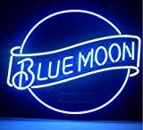 Blue Moon Real Glass Beer Bar Pub Party Store Shop Recreation Room Home Room Wall Window Display Neon Light Signs 19x15