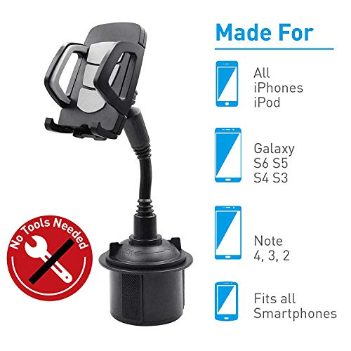 2020 New Wistore Cup Holder Phone Mount Universal Adjustable Gooseneck Cup Holder Cradle Car Mount for Cell Phone iPhone Xs/XS/Max/X/8/7 Plus/Galaxy/Huawei(Gray)