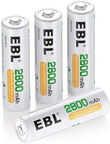 EBL AA Batterie Ricaricabili Ad Alta Capacità,Pile Ricaricabili da 2800mAh Ni-MH con Astuccio Ricarica da 1200 volte,Confezione da 4 pezzi