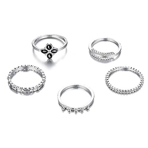 5pcs/Set Boho Exaggerated Ring Rhinestone Knuckle Rings Jewelry (Silver)