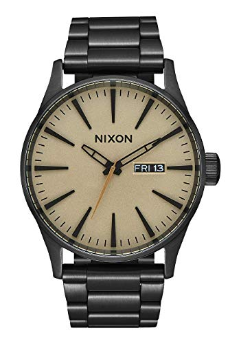 NIXON Sentry SS A356 - Black/Khaki - 100m Water Resistant Men's Analog Classic Watch (42mm Watch Face, 23mm-20mm Stainless Steel Band)
