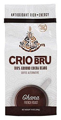 Crio Bru Ghana French Roast 100 Percent Ground Cocoa Beans Coffee Alternative, 10 Ounce - 6 per case.
