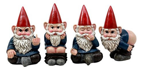 Ebros 4' Tall Badass Naughty Gnome Figurines Collectible Set of 4 Whimsical Dwarf Gnome Decors