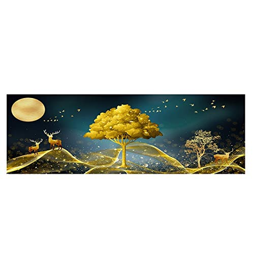 N / A Natural Abstract Golden Tree and Deer Landscape Poster and Print Canvas Painting for Living Room Bedroom Mural Frameless 50x150cm