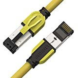 LINKUP – [Certificado 40Gbps] Cable de Conexión Ethernet Cat8 Doble Blindaje┃2000MHz (2GHz) Cat8.1┃Cables LAN Prueba del Futuro Compatibles con Cat7A Cat7 Cat6A Redes 25G 10G 1G┃Amarillo┃3ft (0.9m)