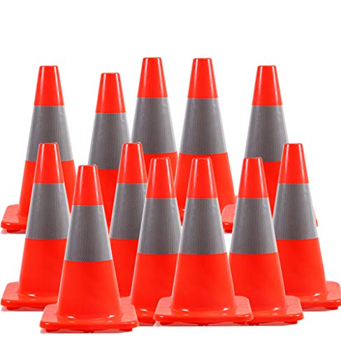 12 Pack  Orangeplas 18quot Orange PVC Traffic Safety Cone Construction Cone Road Parking Cones Weighted Hazard Cones with 6quot Reflective Strips Collar