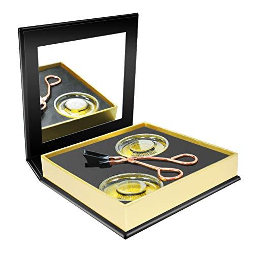 Kit d'applicateurs de cils magnétiques avec 2 paires de faux cils magnétiques sans colle, effet naturel (doré)