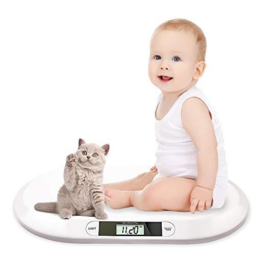 Hengda Babywaage flache Digitalwaage Stillwaage Tierwaage, geeignet für Neugeborene unter 20 kg, mit LCD-Display, automatischer Abschaltung, Peeling-Funktion, weiß (55 cm x 33 cm x 2.7cm)
