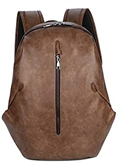 Stylish Laptop Bag PU Leather Anti Theft USB Multi-Functional Large Capacity Fashion Backpack for Men (Color : Brown, Size : 15 inches)