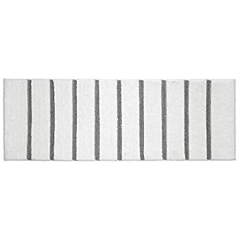 mDesign Soft Microfiber Polyester Non-Slip Extra-Long Stripe Spa Mat/Runner Plush Water Absorbent Accent Rug for Bathroom Vanity Bathtub/Shower Machine Washable - 60  x 21  - White/Gray