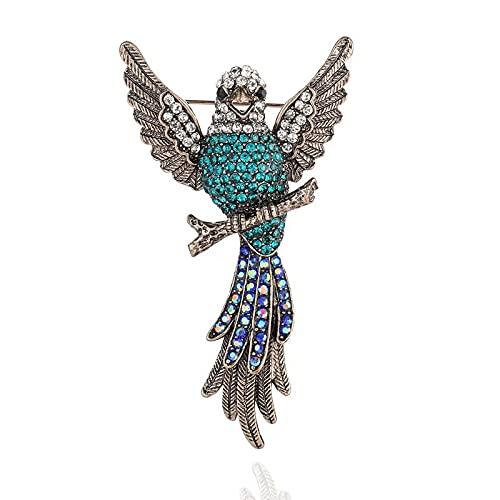 Broche de loro con cristales inspirados en la vendimia para mujeres y niñas (B)