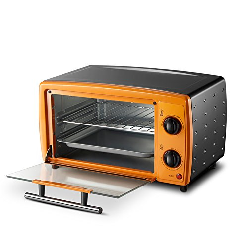 DULPLAY 12L Mini Toaster Oven,Best Convection,Includes Bake Pan, Broil Rack Countertop Oven Polished Stainless Toast Home Kitchen-Orange 36.9x29.6x21.4cm(15x12x8inch)