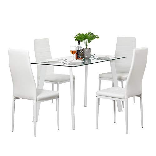 Juego de mesa de comedor rectangular, 1 mesa de comedor de cristal, 4 sillas de piel sintética para cocina, comedor, sala de estar