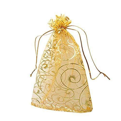 WopenJucy 100 bolsas de organza para pestañas de champán, con cordón, para joyas, fiestas, bodas, bolsas de regalo