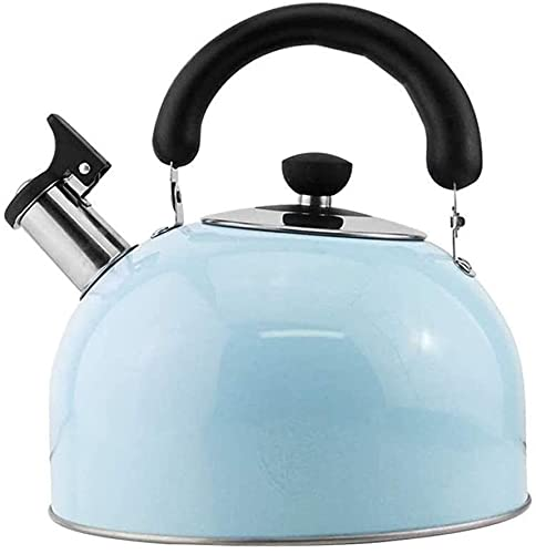 Stainless Steel Whistling Kettle Large teapot Stainless Steel StoveTop Whistling Kettle Fast Boil Induction-Safe for Gas Electric & Induction Hobs All Cookware (Color : Blue, Size : 3l)