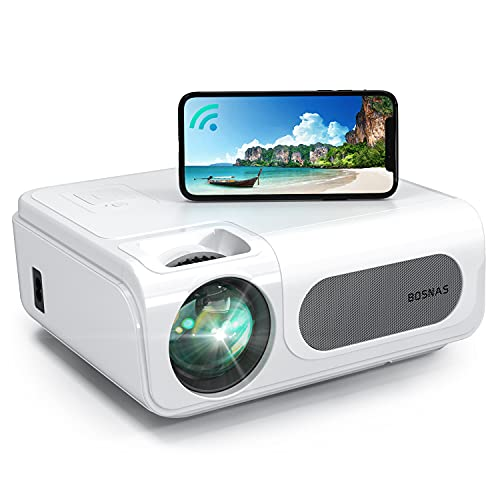 """Projector, BOSNAS Wireless WiFi Bluetooth 8500L Home Video Projectors, 1920×1080P, Support 300"""" Screen Playing, 4-Points Keystone Correction, Zoom and TV Stick/Phone/Laptop/DVD Player/PS4 Connecting"""