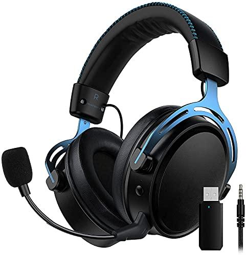 2.4G Wireless Gaming Headset für PS4, PS5, PC, Switch, Mac, USB Gaming Kopfhörer mit Zweikammer-Treiber, 17 Stunden Akkulaufzeit (optional kabelgebunden), Mikrofon mit Geräuschunterdrückung, Blau