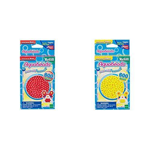 Aquabeads 32508 Perlen rot & 32528 Perlen Bastelperlen nachfüllen gelb