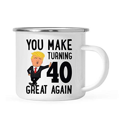 Divertido presidente Donald Trump 10oz. Taza de café de acero inoxidable para fogata, regalo de 40 cumpleaños, que hace que cumplir 40 años sea genial de nuevo, paquete de 1, MAGA Family Birthday Gift