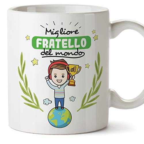 Mugffins Fratello Tazza/Mug - Migliore Fratello del Mondo - Idea Regalo Originale di Compleanno - Tazza Miglior Fratello in Ceramica. 350 ml