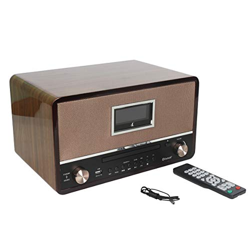 HiFi DSP Digital Radio,Music Stereo System with CD Player, Bluetooth 2x15W High Power Stereo Speaker, USB/CD/FM/AM/Line Out/AUX-in/EQ/Encording Remote Control Digitalradio