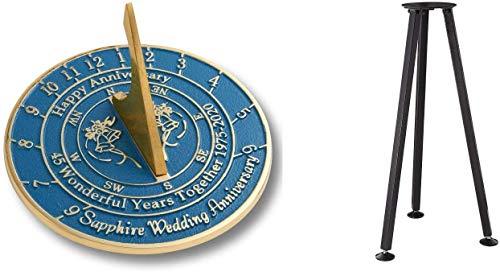 Reloj de sol con soporte para 45 aniversario de boda de zafiro...