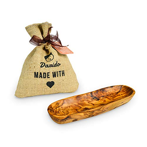 Brotkorb Holz - Olivenholz Baguette Schale - Rustikale Holzschale Deko - Mehrzweckschüssel - Holzschale länglich - Vintage Weihnachtstisch Deko – Handgemachte Schüssel