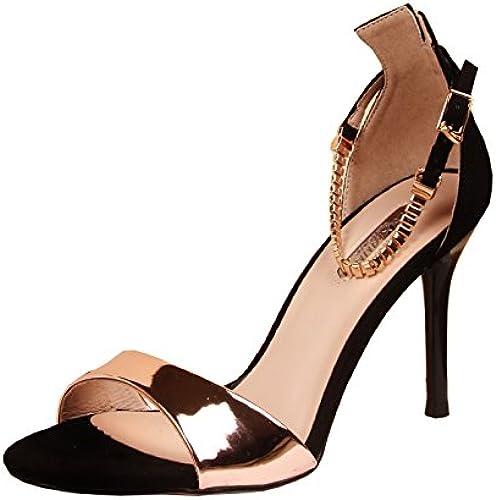 GTVERNH Bon Talon Bouche De Poisson Les Sandales à Talons DE 10 Cm Les Boucles Les Chaussures L'été Femmes Sauvages