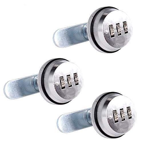 Spotact Combinacion Cam Lock Cerraduras de Seguridad Cromo Brillante Generador Cerradura Codificada Para Caja de Aleacion de Zinc Gabinete (3 Paquete-2cm)