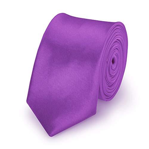 StickandShine Krawatte Lila slim aus Polyester einfarbig uni schmale 5 cm