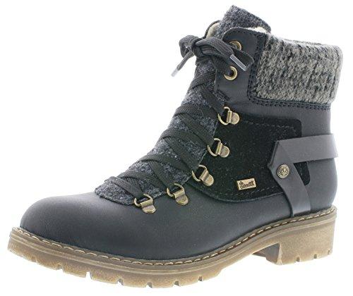 Rieker Damen Winterstiefel Y9143,Frauen Winter-Boots,warm,Tex-Membran,wasserfest,Blockabsatz 3.6cm,wasserdicht,schwarz/schwarz/schwarz/anthrazit/anthrazit, EU 40