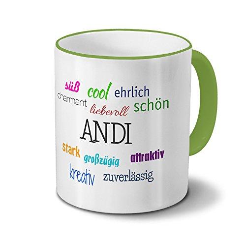 printplanet Tasse mit Namen Andi - Positive Eigenschaften von Andi - Namenstasse, Kaffeebecher, Mug, Becher, Kaffeetasse - Farbe Grün